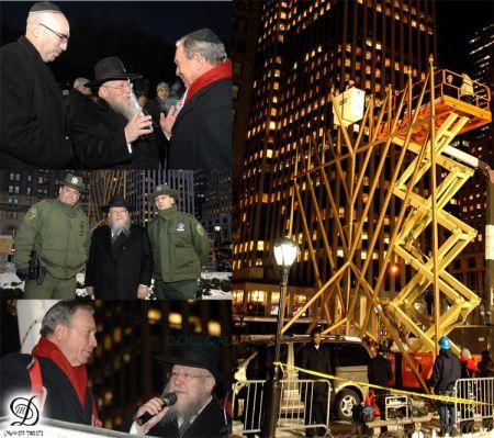 Times Square, NYC - Il sindaco Bloomberg accende la Chanucchià più alta del mondo